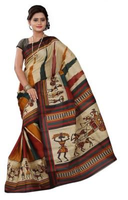 Moon Sarees Printed Bhagalpuri Handloom Silk Sari