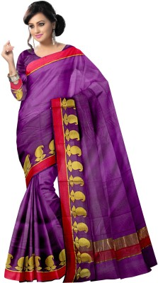 Komal Sarees Woven, Self Design Bollywood Handloom Chanderi, Art Silk Sari
