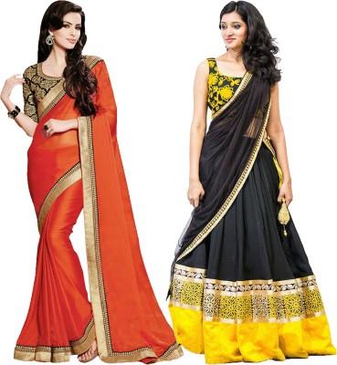 MAA CREATION Solid Fashion Cotton Sari