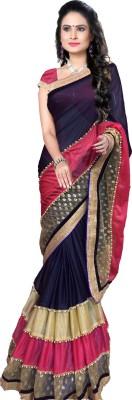 Hari Krishna sarees Embriodered Leheria Net, Georgette Sari
