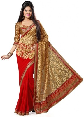 Wowcreation Self Design Fashion Handloom Brasso, Satin Sari