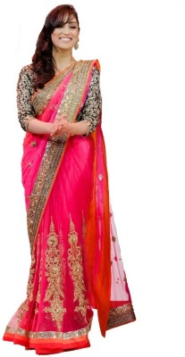 Ganes Self Design Fashion Net Sari