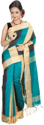 Jhumya Solid, Striped Tant Handloom Cotton Sari