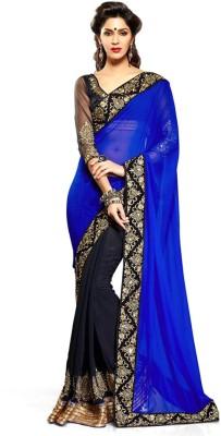 Jiya Fashion Embriodered, Solid Fashion Pure Georgette Sari