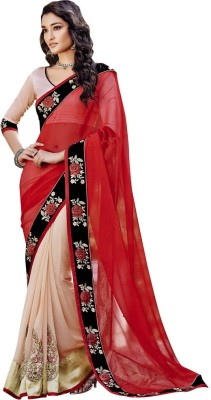 The Ethnic Chic Embriodered Fashion Chiffon, Georgette Sari