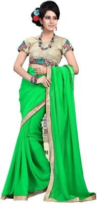 Cenizas Solid Fashion Chiffon Sari