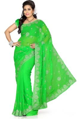 De Marca Solid Fashion Chiffon Sari
