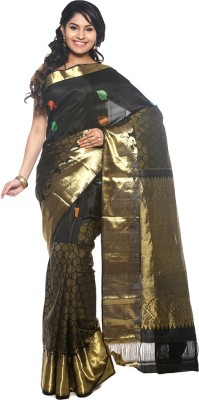 BlackBeauty Woven Kanjivaram Handloom Pure Silk Saree(Black, Gold) at flipkart