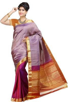 Aruna Sarees Geometric Print Kanjivaram Handloom Pure Silk Sari