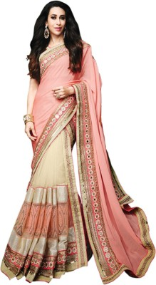 Kmozi Embriodered Lehenga Saree Georgette, Net Sari