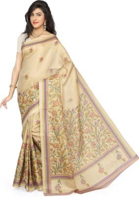 Rani Saahiba Printed Bhagalpuri Art Silk Sari(Beige, Purple)