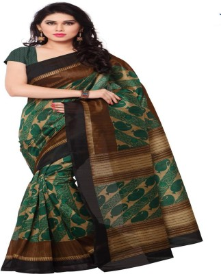 Sunaina Printed Mysore Art Silk Saree(Multicolor) at flipkart