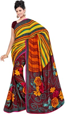 Maxusfashion Floral Print Bollywood Georgette Sari