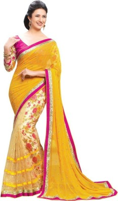 Fabaron Enterprise Printed, Self Design Fashion Chiffon Sari
