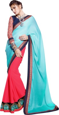 Dilwaa Self Design, Embriodered, Embellished Fashion Georgette, Crepe, Silk Sari