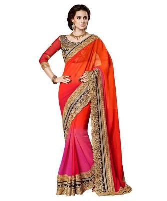 KRUPALI FASHION Embriodered Bollywood Handloom Pure Georgette Sari