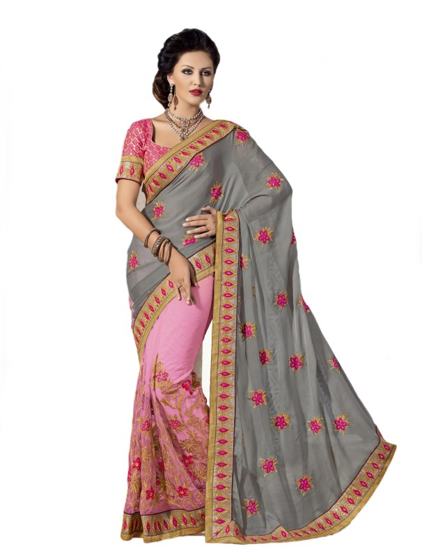 Aarti Apparels Embroidered Bollywood Chiffon Saree(Grey, Pink)