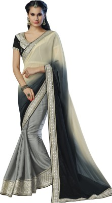 Moh Manthan Self Design Fashion Georgette, Jacquard Sari