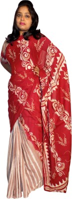 KheyaliBoutique Floral Print Hand Batik Cotton Sari