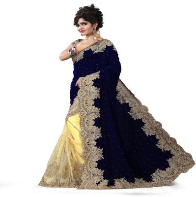 Stylo Designer Self Design Fashion Handloom Net, Velvet Sari