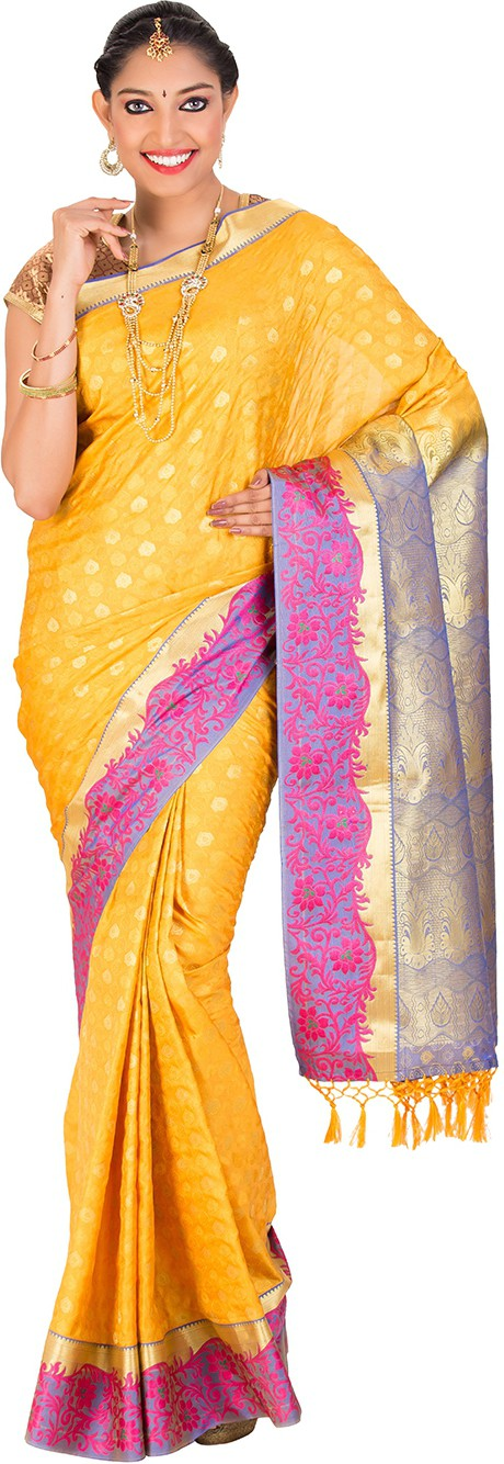 Thara Sarees Self Design Kanjivaram Art Silk Saree(Yellow)