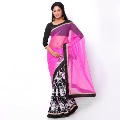 Ziyaa Digital Prints Daily Wear Net, Cotton Sari