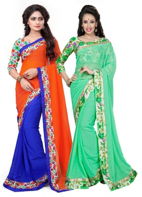 Aashvi Creation Floral Print Daily Wear Chiffon, Georgette Saree(Pack of 2, Multicolor) at flipkart