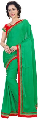 Zombom Striped Daily Wear Handloom Satin, Chiffon Sari
