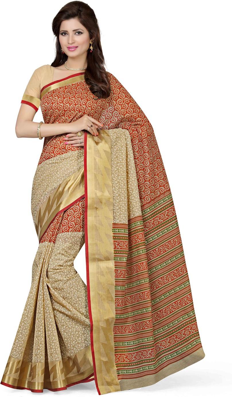 Saree Swarg Printed Bollywood Cotton Saree(Beige)