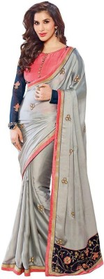 Kmozi Embriodered Fashion Satin, Georgette Sari
