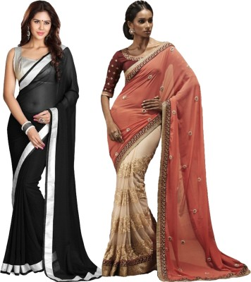 Angel Creation Solid Fashion Georgette Sari