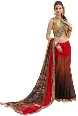 COLOURTRENDZ Embriodered Fashion Jacquard Sari