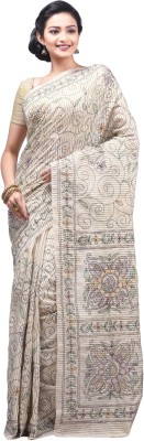 Creation Embriodered Kantha Handloom Silk Cotton Blend Sari