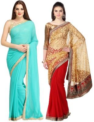 Indian E Fashion Embriodered Fashion Georgette, Brasso Sari