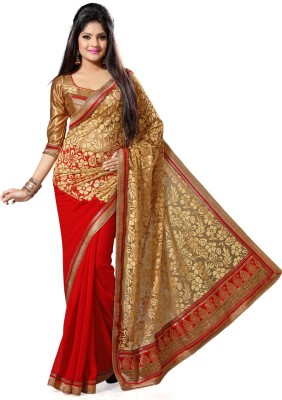 Deepika Couture Solid Bollywood Georgette, Brasso Sari