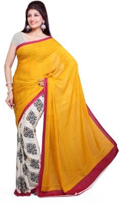 Ishin Self Design Fashion Crepe Sari