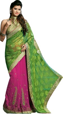 aqsa life style Embriodered Fashion Synthetic Georgette Sari
