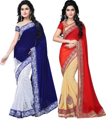 SNV Fashion Embriodered, Embellished Fashion Velvet, Brasso, Georgette Sari