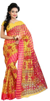 Needle Impression Printed Assam Silk Handloom Silk Sari