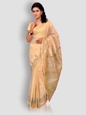 Kasturi-B Swadeshi Karigari Embriodered Lucknow Chikankari Kota Sari