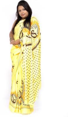 Gulmohaar Printed, Floral Print Bollywood Jacquard Sari