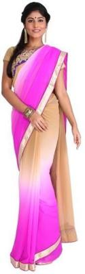 Nav Durga Solid, Applique Fashion Art Silk Sari