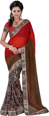 Yehii Graphic Print Fashion Georgette Sari
