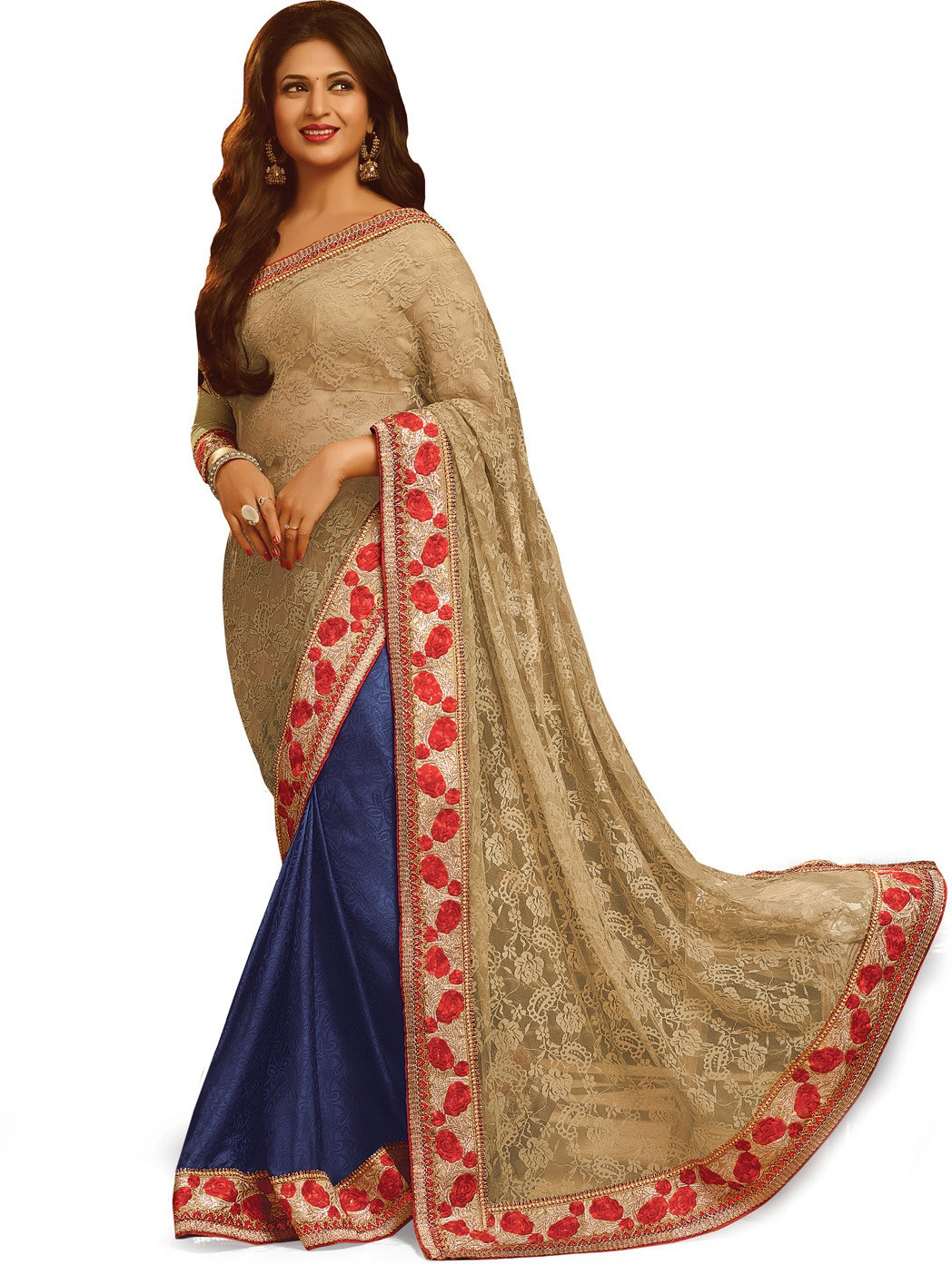 Indianbeauty Self Design, Embroidered Bollywood Jacquard, Chiffon Saree(Beige, Blue)