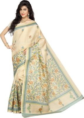 Rani Saahiba Printed Bhagalpuri Art Silk Sari(Beige, Blue)