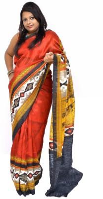 Gulmohaar Printed Ikkat Silk Sari