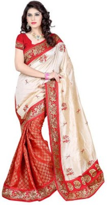 Makekaartz Embriodered Fashion Art Silk Sari