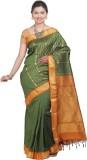 Tusk Printed Kanjivaram Silk Sari (Green...