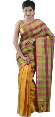 Uppada Silks Checkered Fashion Silk Sari