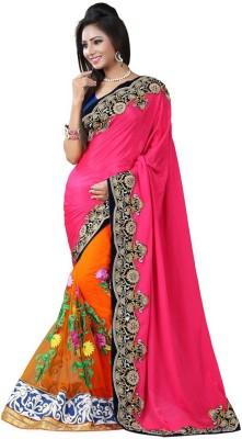 Fashion Bucket Embriodered Bollywood Net, Raw Silk Sari